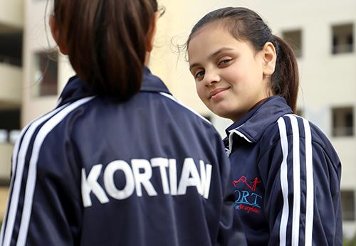 Girls at KORT Mirpur doing PE lesson